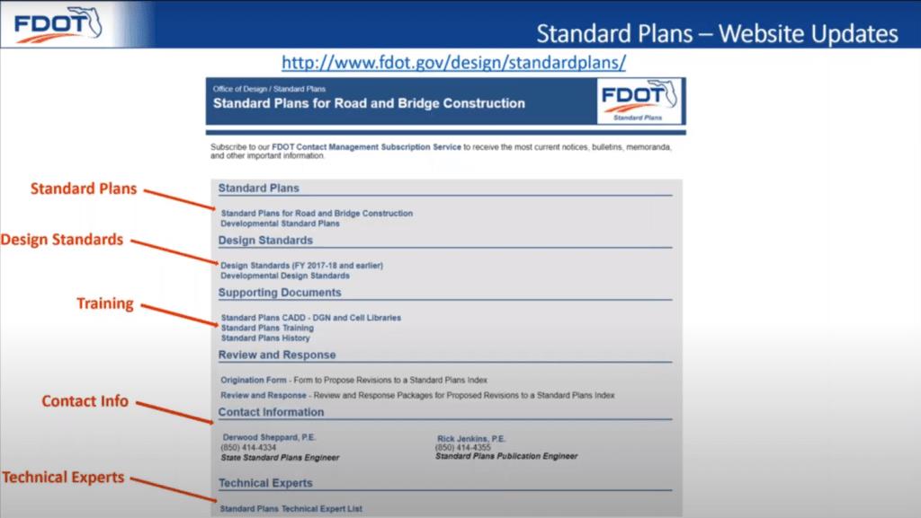 FDOT Standard Plans Main Website.